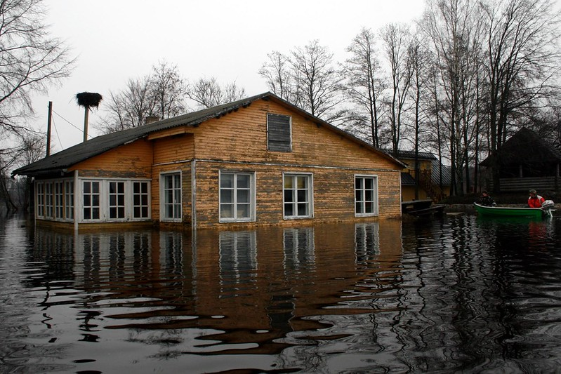flooded wooden house